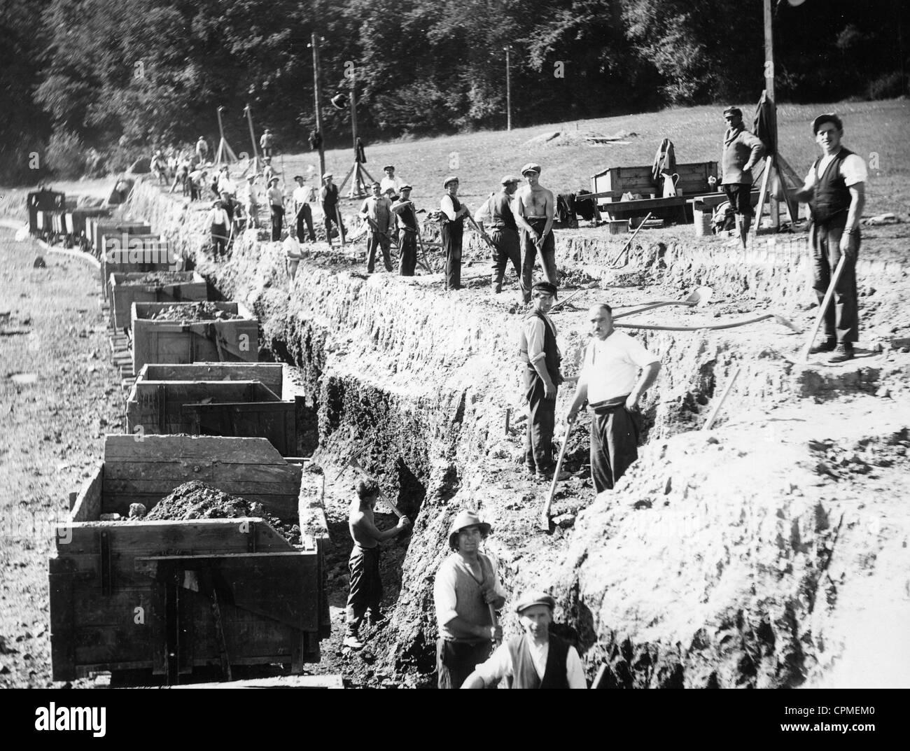 Bau der Rurtalsperre in den dreißiger Jahren Stockbild