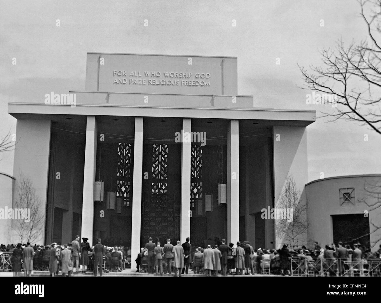 """Einweihung des """"Temple of Religions"""" auf der Weltausstellung in New York, 1939 Stockbild"""