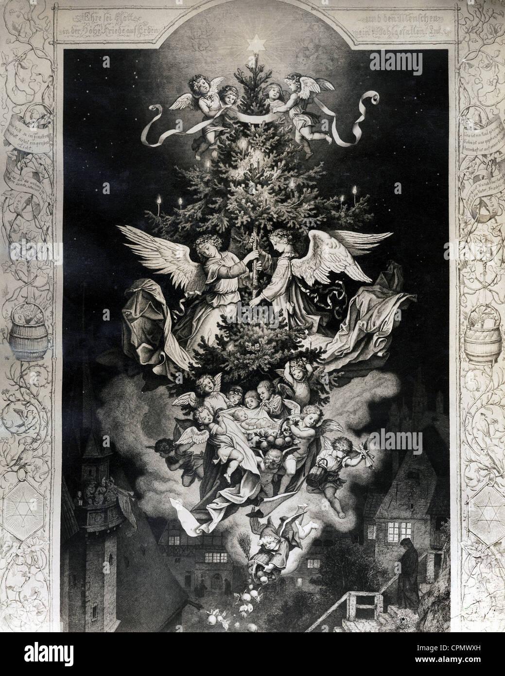 """Historische Weihnachten: """"Christus Night"""" nach einer Radierung von Ludwig Richter Stockbild"""