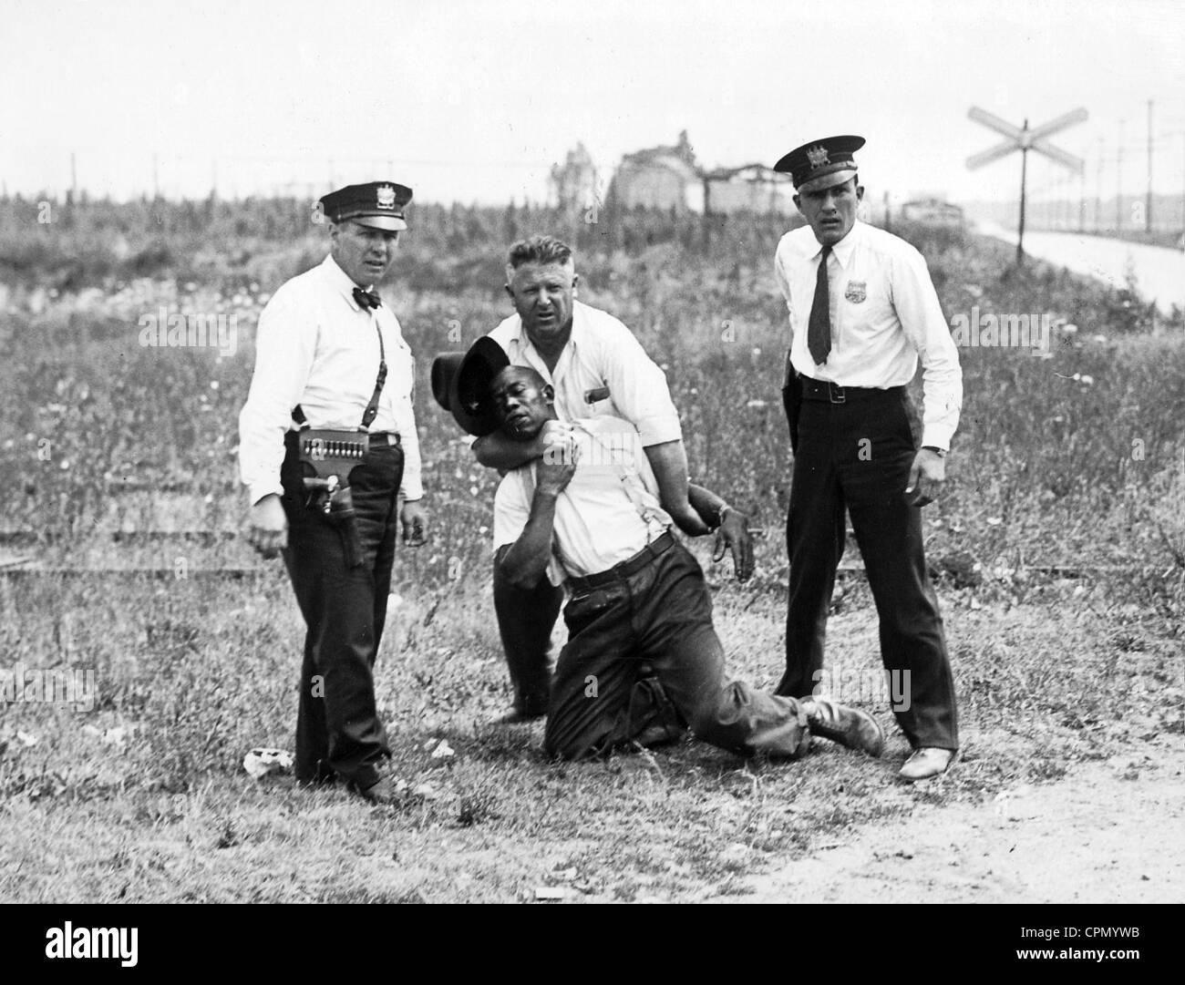 Lynchjustiz in den USA auf einem schwarzen Mann Stockfoto