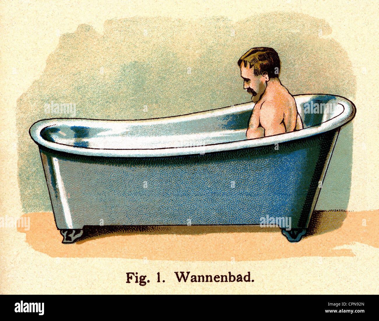 hygiene, bad, mann in einer badewanne, lithographie, deutschland, Badezimmer ideen