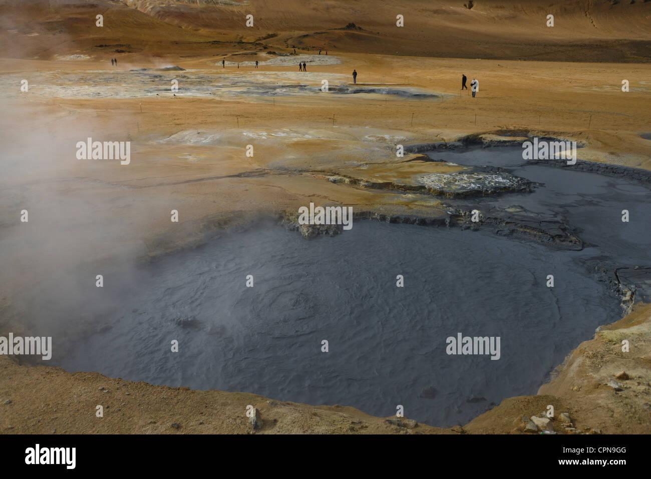 Geothermische Mudpot, Namafjall, Island Stockbild