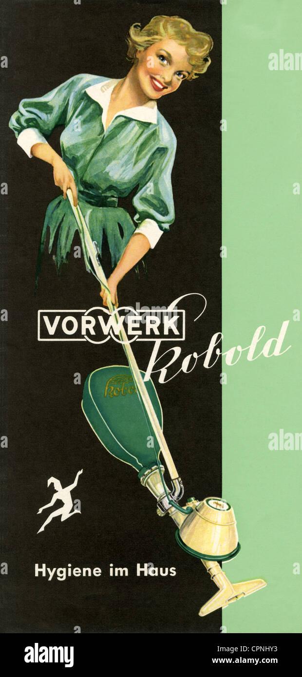 Werbung Haushalt Hausfrau mit Staubsauger Vorwerk Kobold