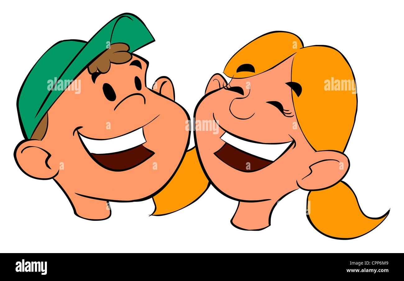 Comic Figuren Eines Kleinen Jungen Und Mädchen Stockfoto Bild