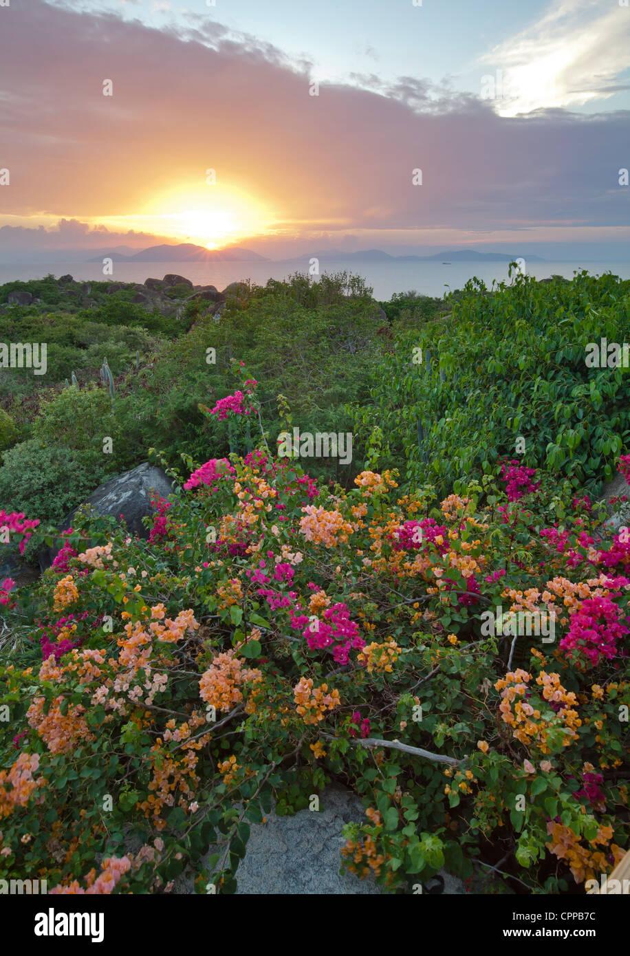 Virgin Gorda, Britische Jungferninseln, Karibik: Blick auf die untergehende Sonne über fernen Inseln in der Stockbild