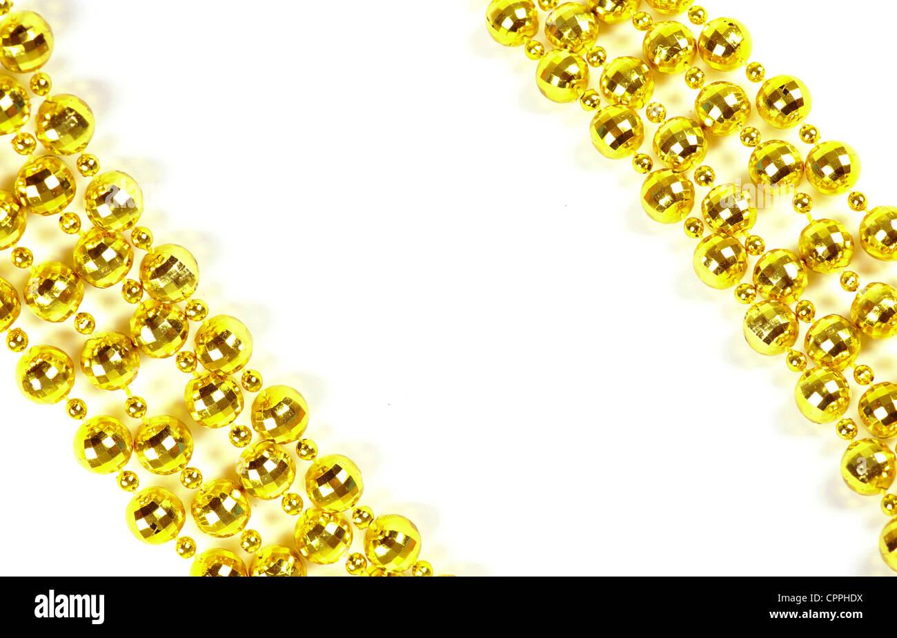 Hintergrund von einem brillanten festlichen Perlen von goldener Farbe gemacht Stockbild