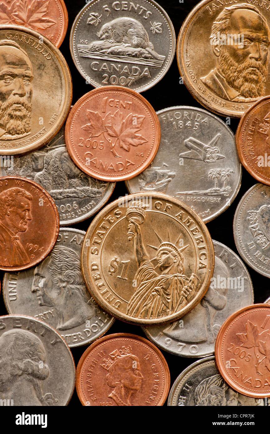 Usa Dollar Münze Und Verschiedene Kanadischen Und Us Amerikanischen