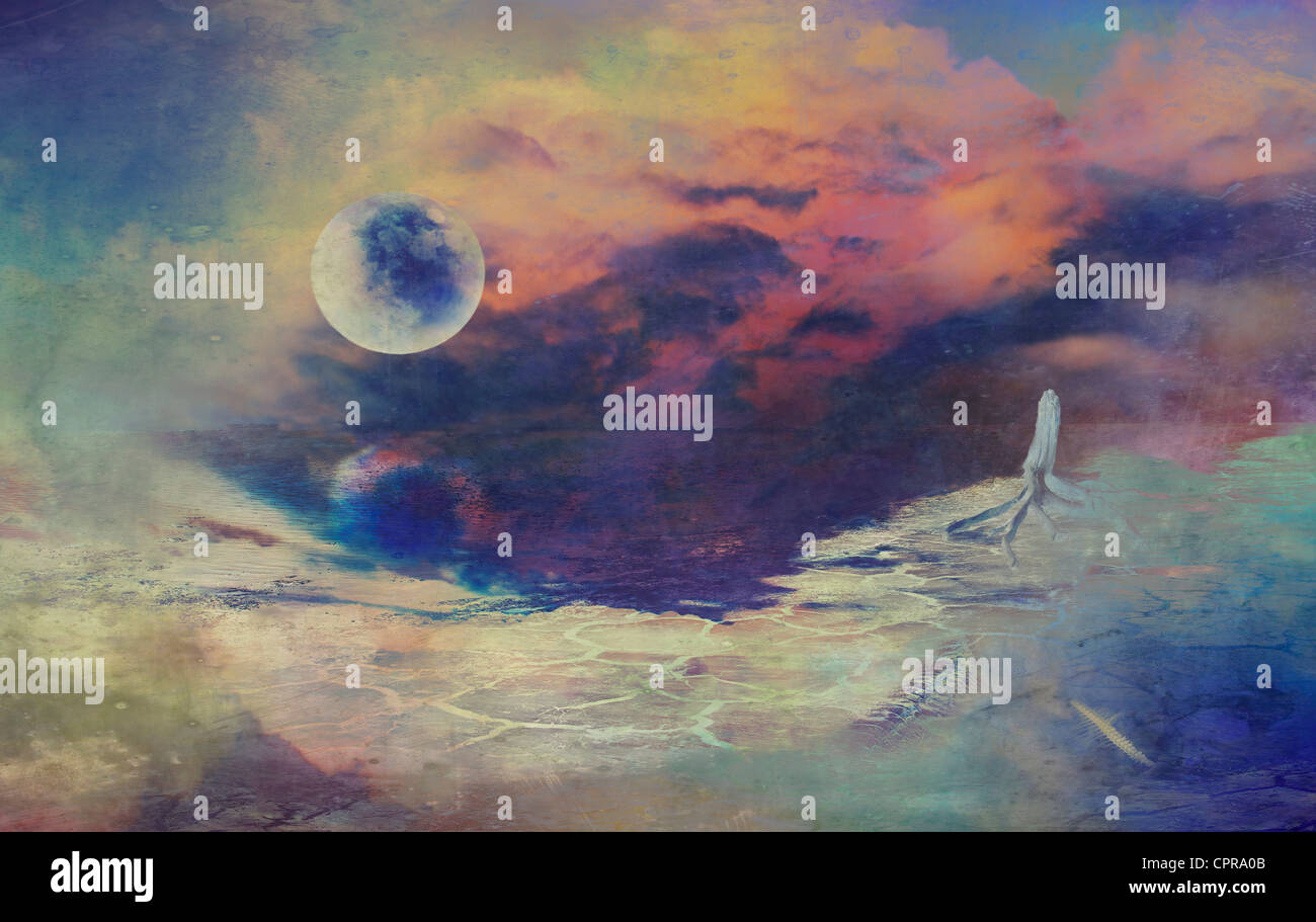 Bunte digitale Zeichnung einer düsteren Science-Fiction-Fantasie-Landschaft mit einem Mond. Stockbild