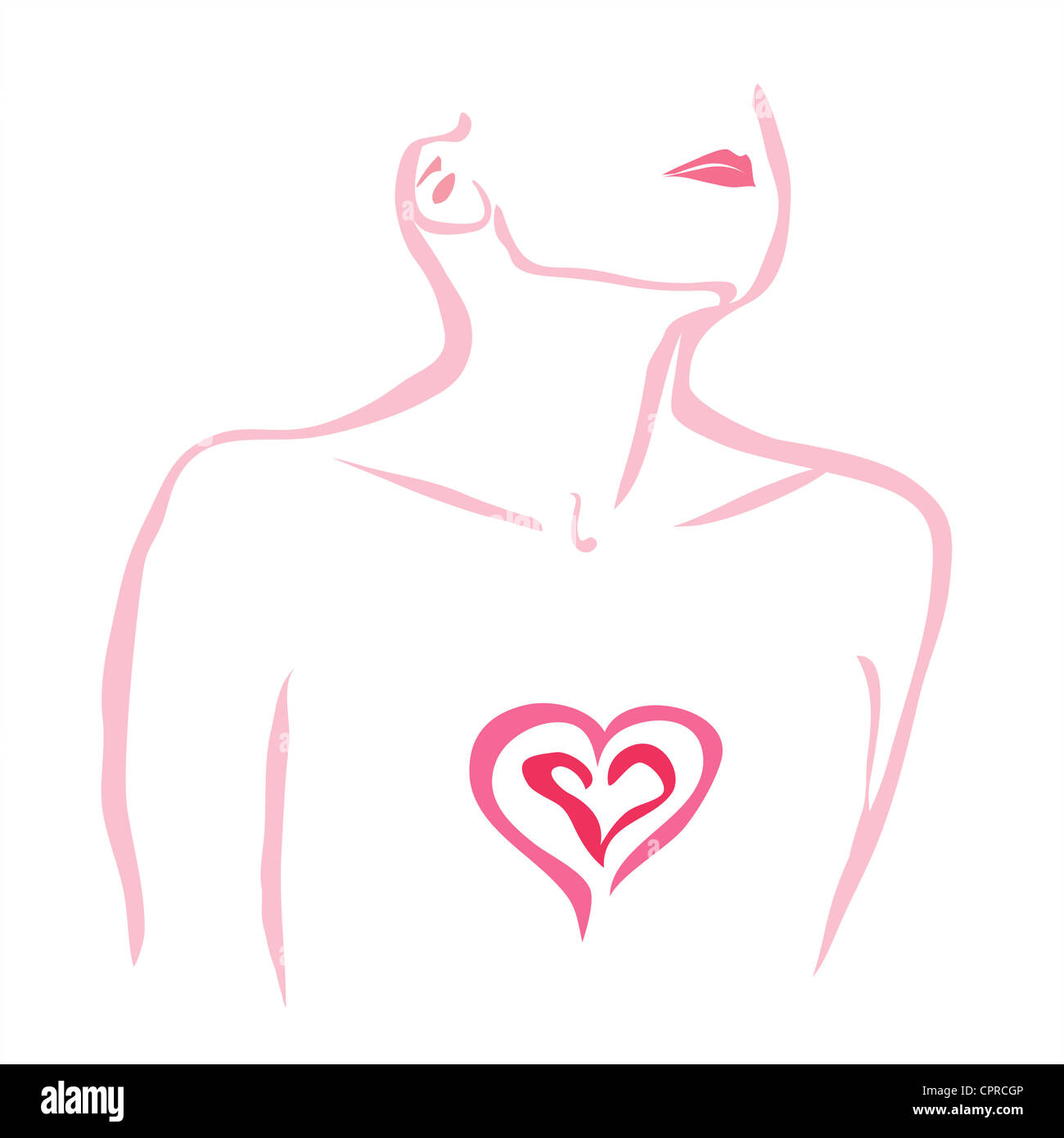Herzschmerz. Frau mit ihrem Herzen ausgesetzt.Stockfoto