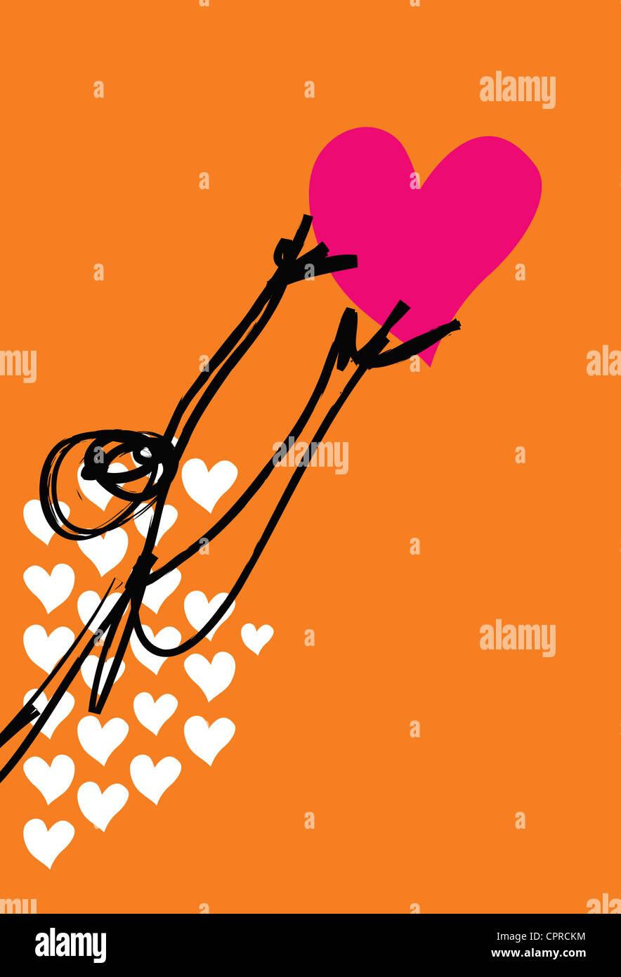 Untröstlich, unglückliche Person für ein Herz zu erreichen. Stockbild
