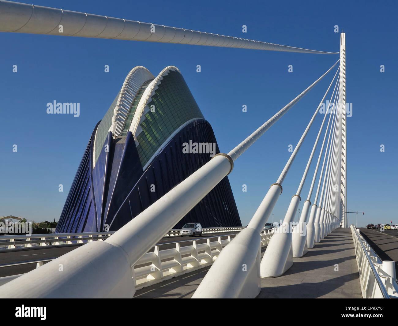 Stadt der Künste und Wissenschaften, entworfen von Santiago Calatrava Valencia, Spanien Stockbild