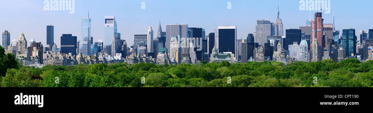 Panorama von Midtown Manhattan von oben Baumkronen der Central Park in New York City Stockbild