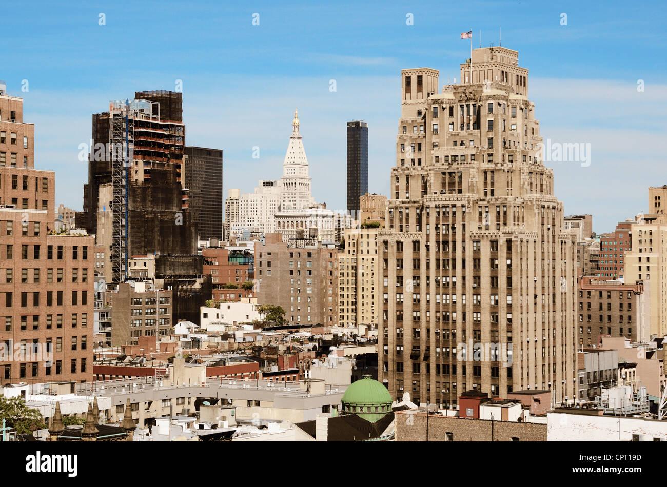 Manhattan angesehen von einem Westdorf Dach nordöstlich suchen Stockbild
