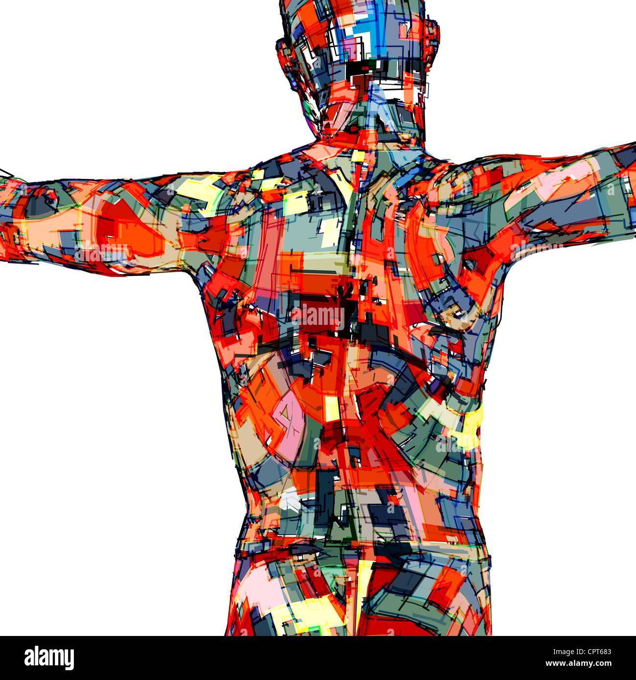 Eine Silhouette der Körper eines Mannes Stockbild