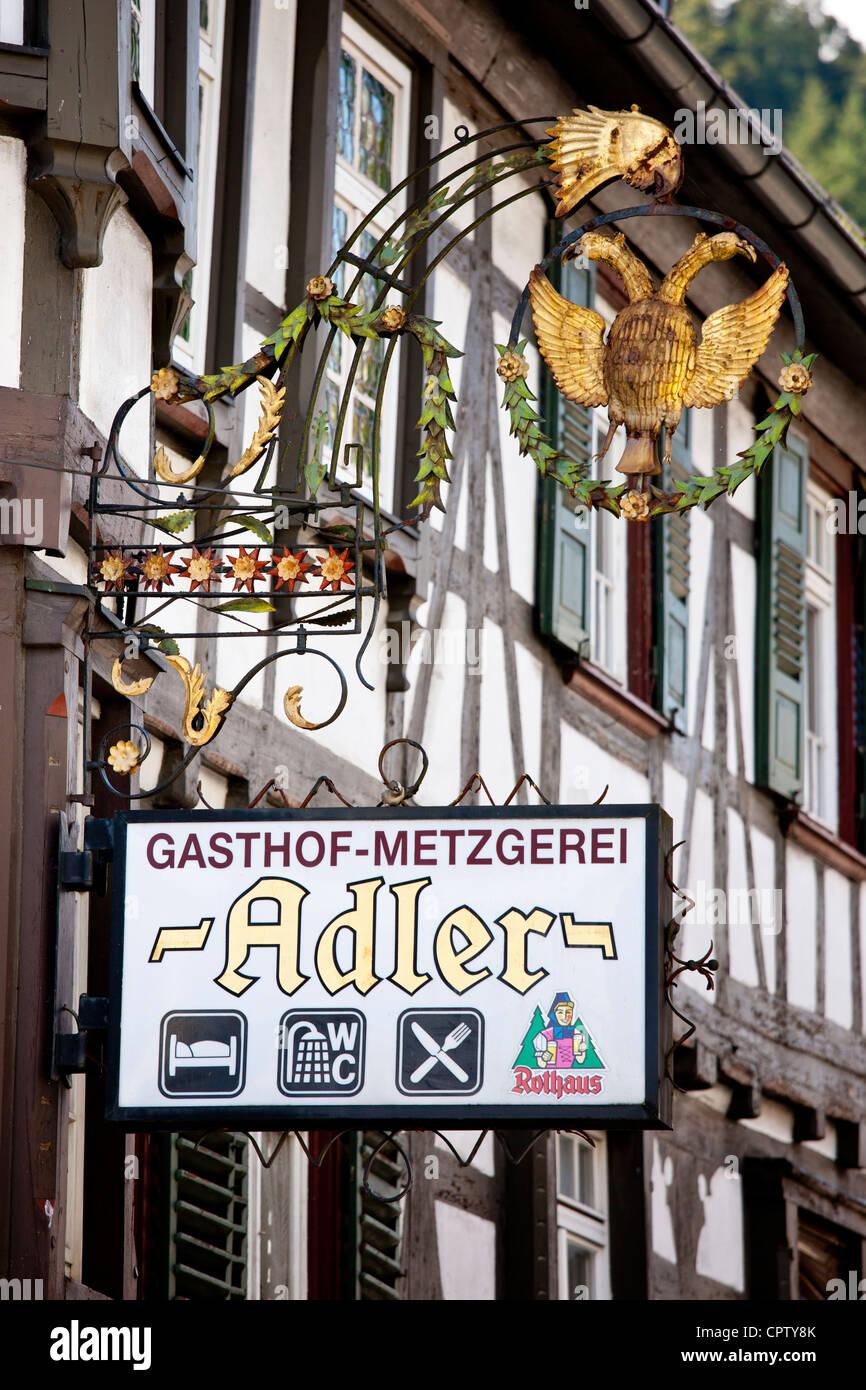 Gasthof Adler in der Schwarzwald-Stadt Schiltach, Bayern, Deutschland Stockbild