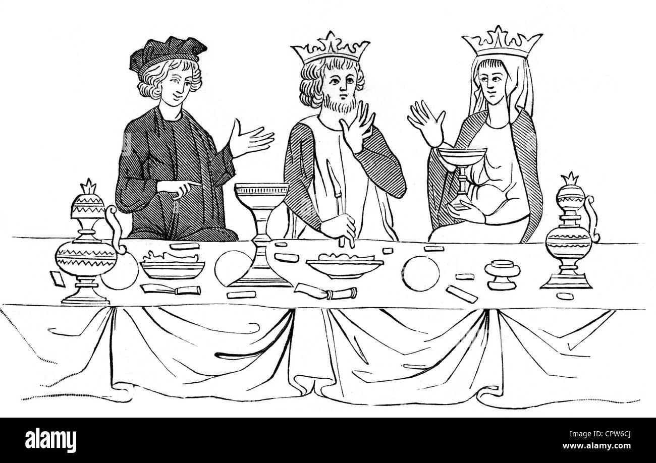 Parsifal, mittelalterlichen mythologischen Helden, als Gast des Königs Amfortas in der Gralsburg, Repanse bringt Stockbild
