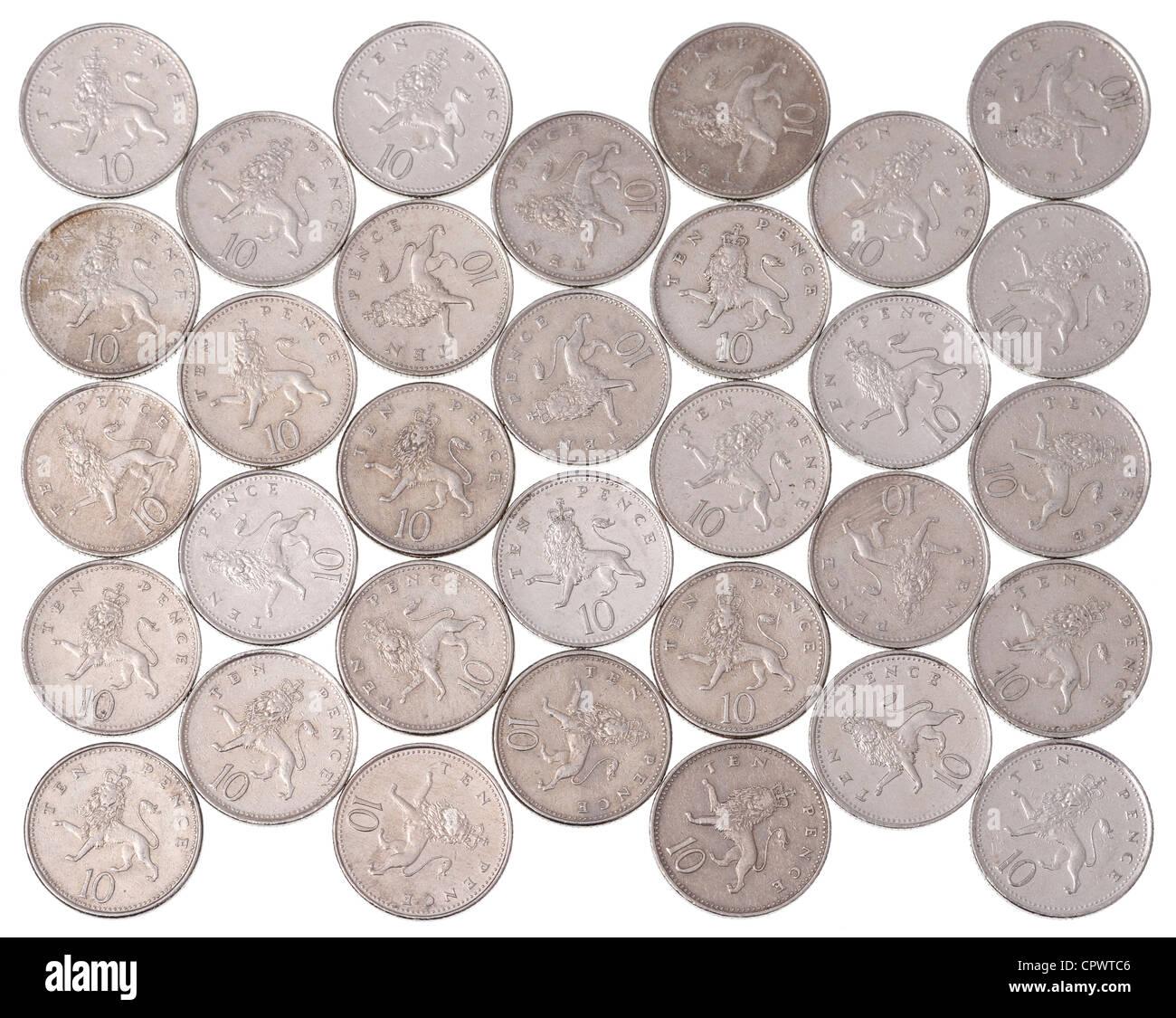 UK 10p-Münzen Stockbild