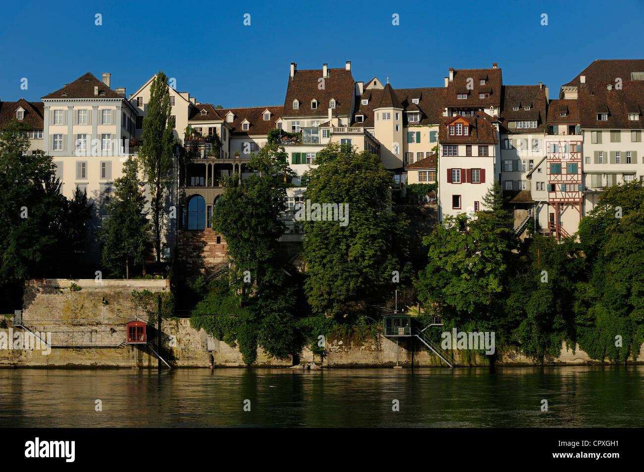 Schweiz, Kanton Basel-Stadt, Basel, dem linken Ufer des Rheins und der Kathedrale-Viertel Stockbild