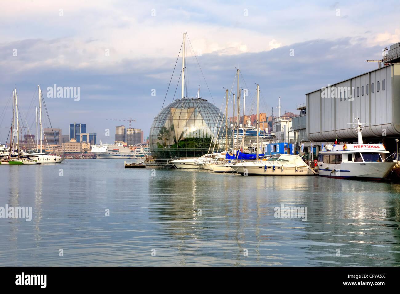 Biosphäre, Porto Antico, Genua, Ligurien, Italien Stockbild