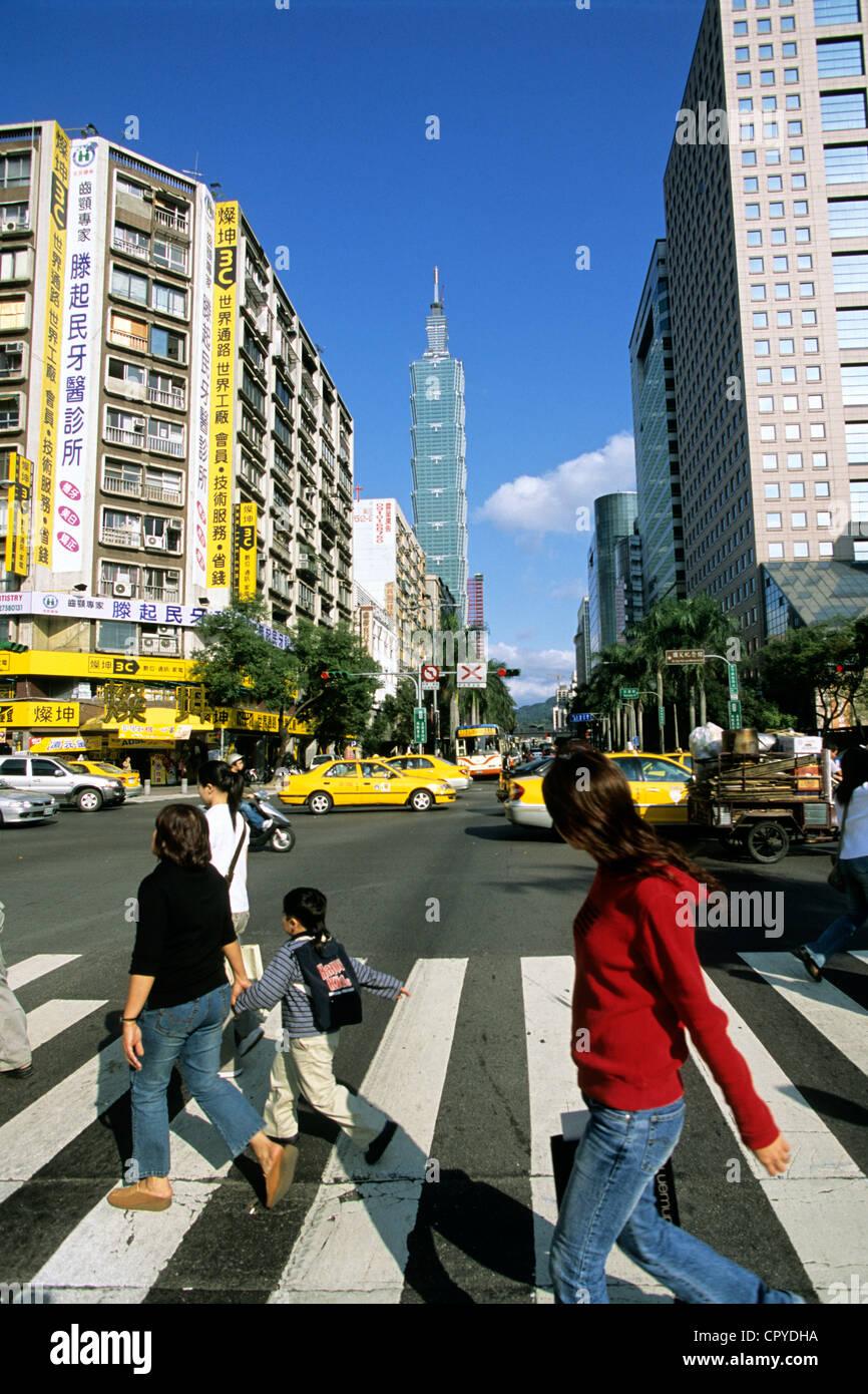 Taiwan Taipei Taipei 101 Tower 508 m Höhe einer der höchsten Türme in der Welt von Architekt Firma CY Lee und Partnerarchitekten Stockfoto
