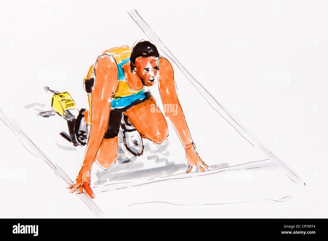 Start eines Läufers, Leichtathletik, Zeichnung des Künstlers Gerhard Kraus, Kriftel, Abbildung Stockfoto