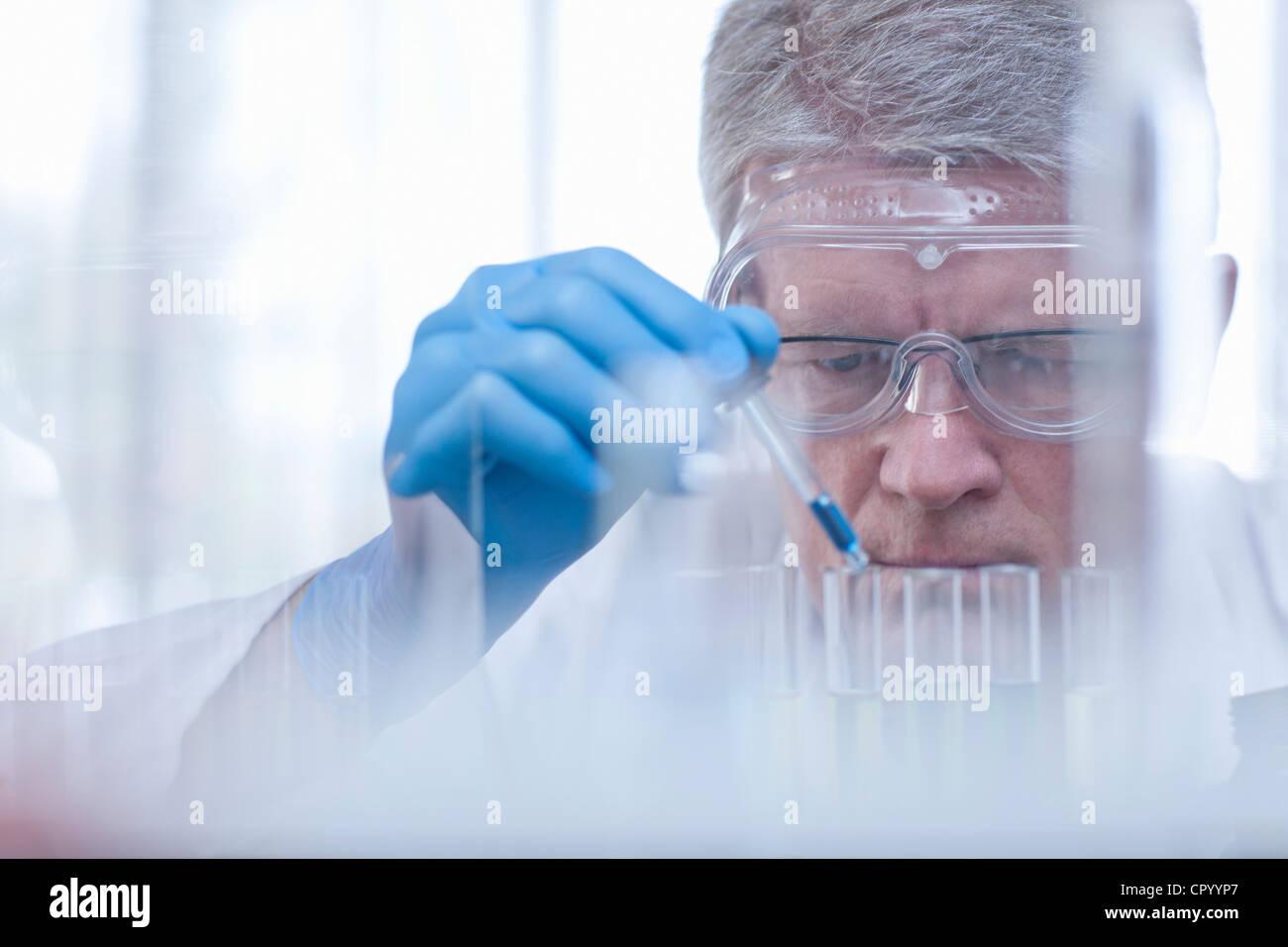 Wissenschaftler, die Flüssigkeit in den Reagenzgläsern fallen Stockbild