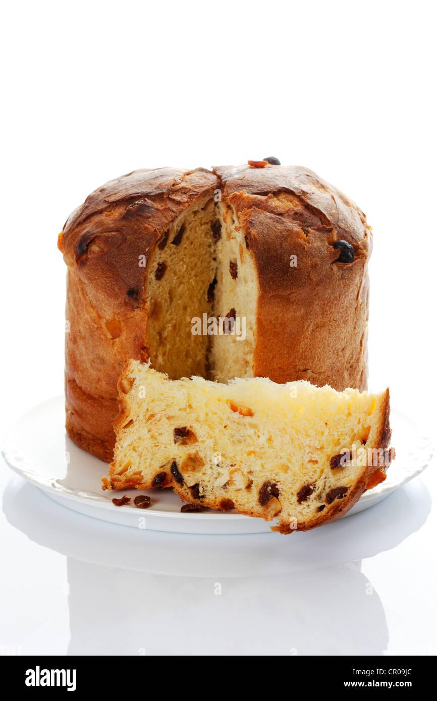 Panettone Italienische Kuchen Schnitt Stockfoto Bild 48565396