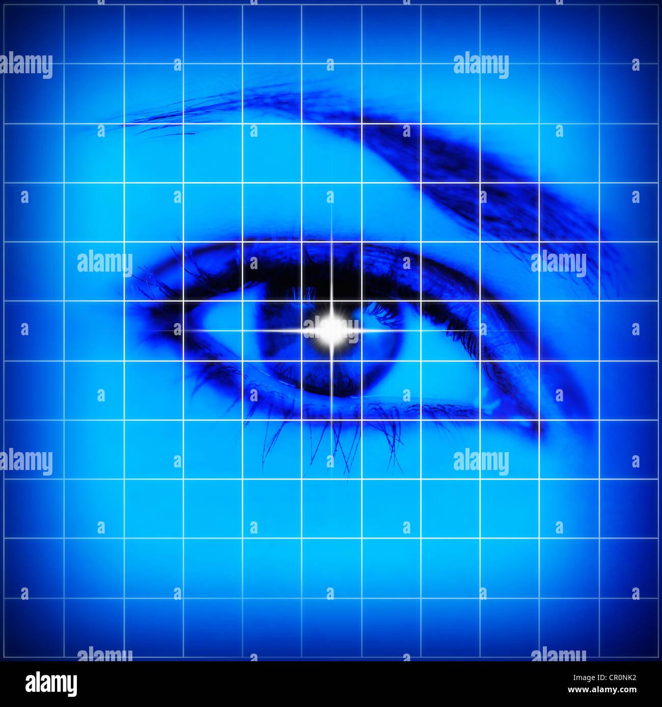 Studioaufnahme von Gittermuster mit weiblichen Auge Stockbild
