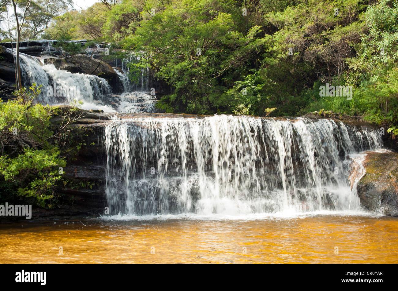 Wentworth Wände Wasserfall in Blue Mountains in der Nähe von Sydney Australien Stockbild