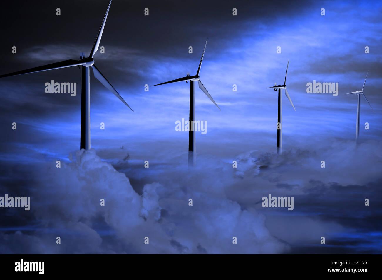 Windkraftanlagen in Wolken Stockbild