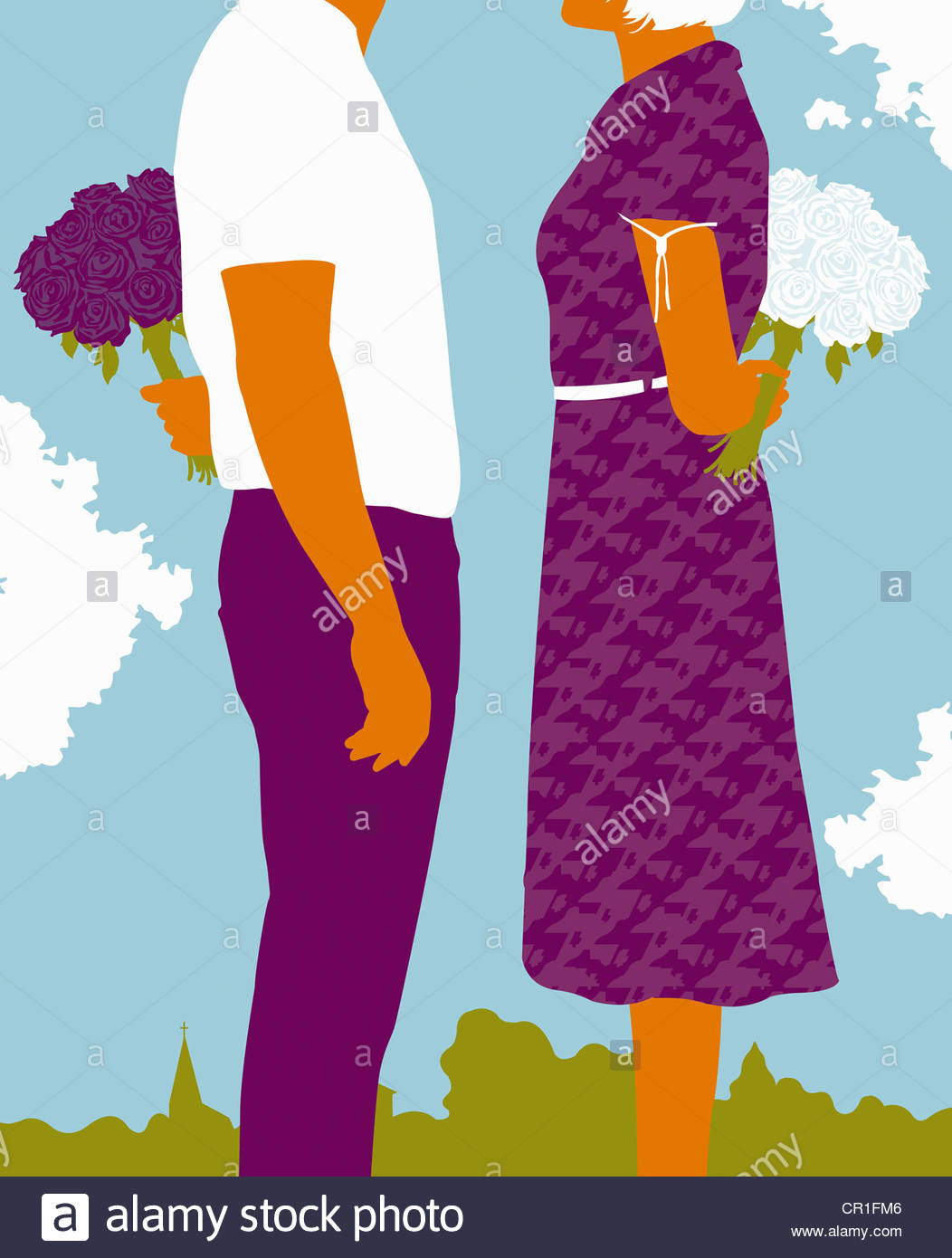 Paar stehend mit Blumensträußen hinter Rücken Stockbild