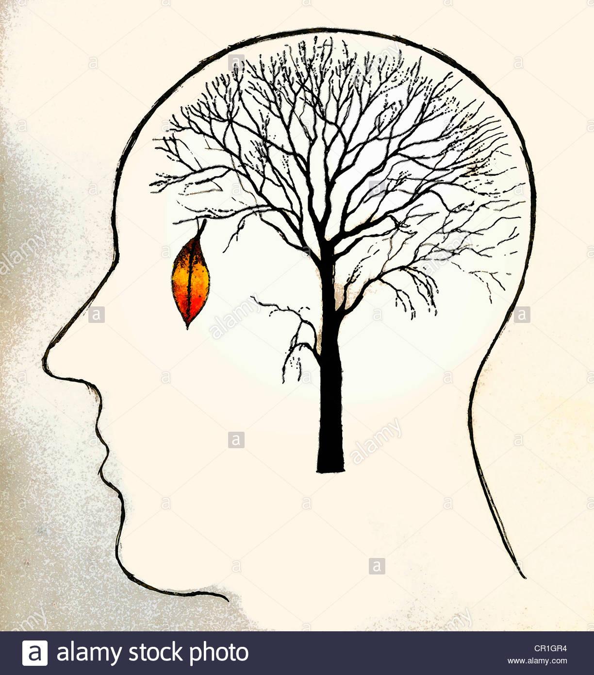 Einzelnes Blatt hängen auf kahlen Baum im Kopf des Mannes Stockbild