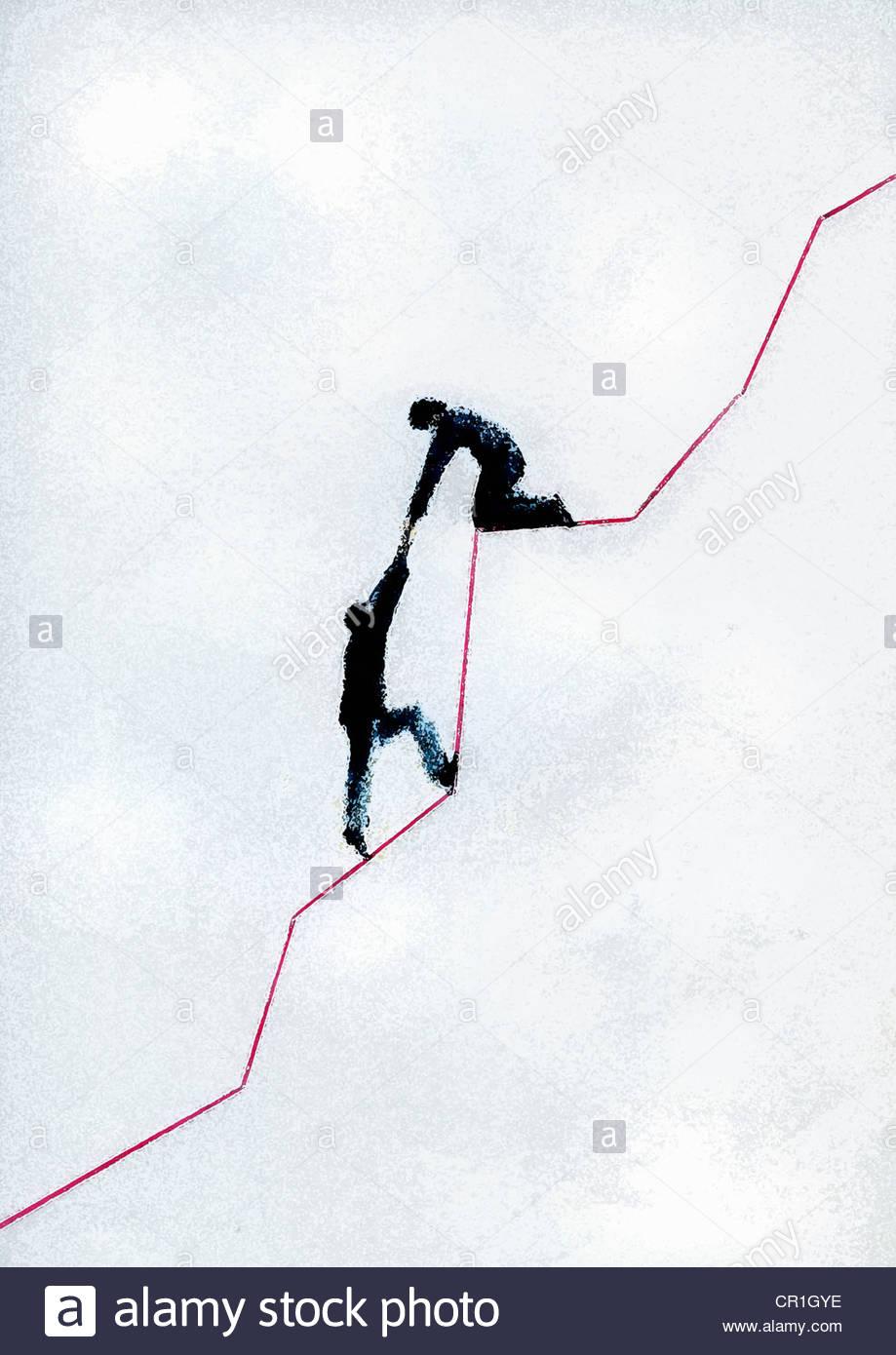 Kollegen helfen Geschäftsmann hinauf steigende rote Liniendiagramm Stockbild