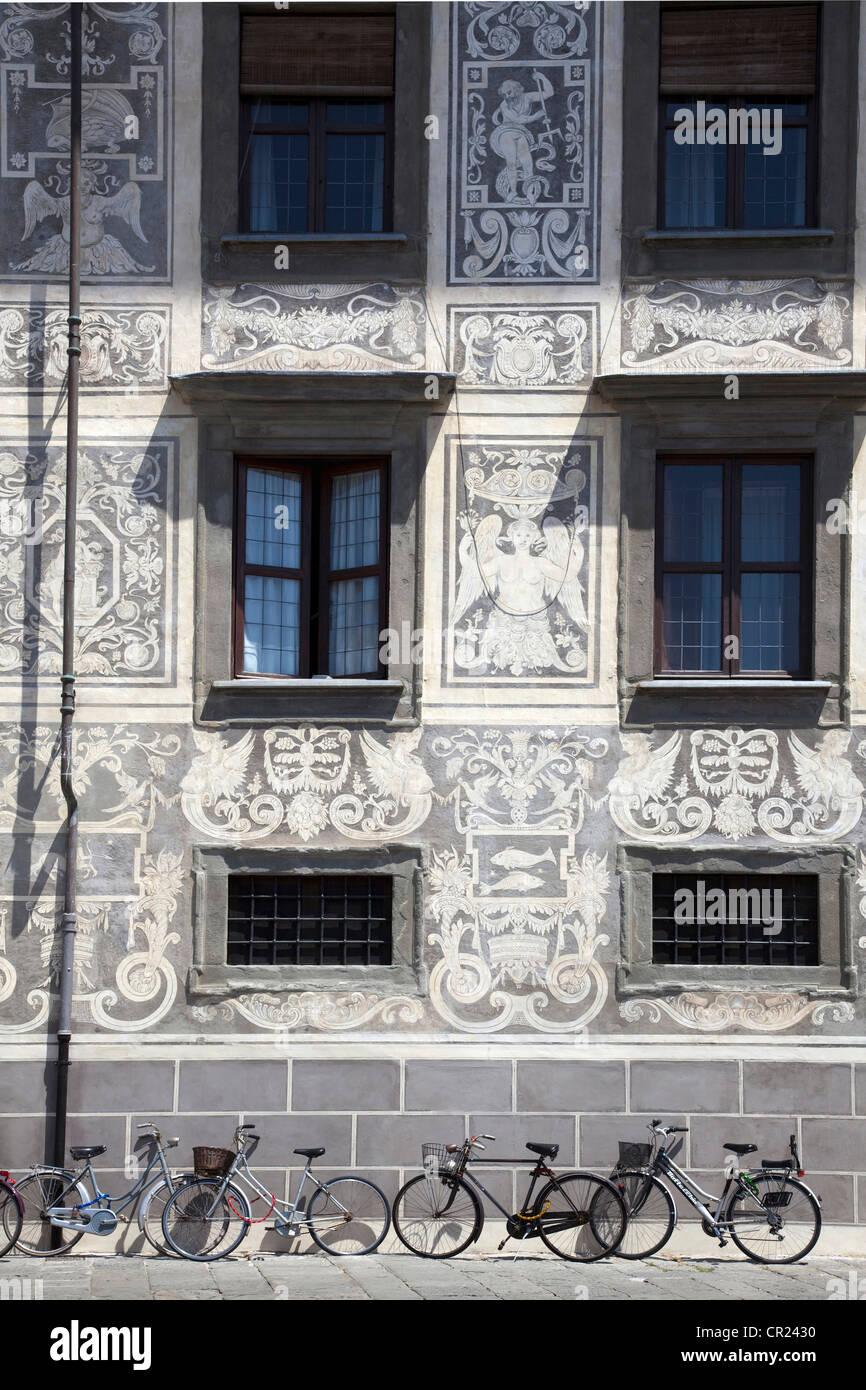 Kunstvoll bemalten Mauern des Gebäudes Stockbild