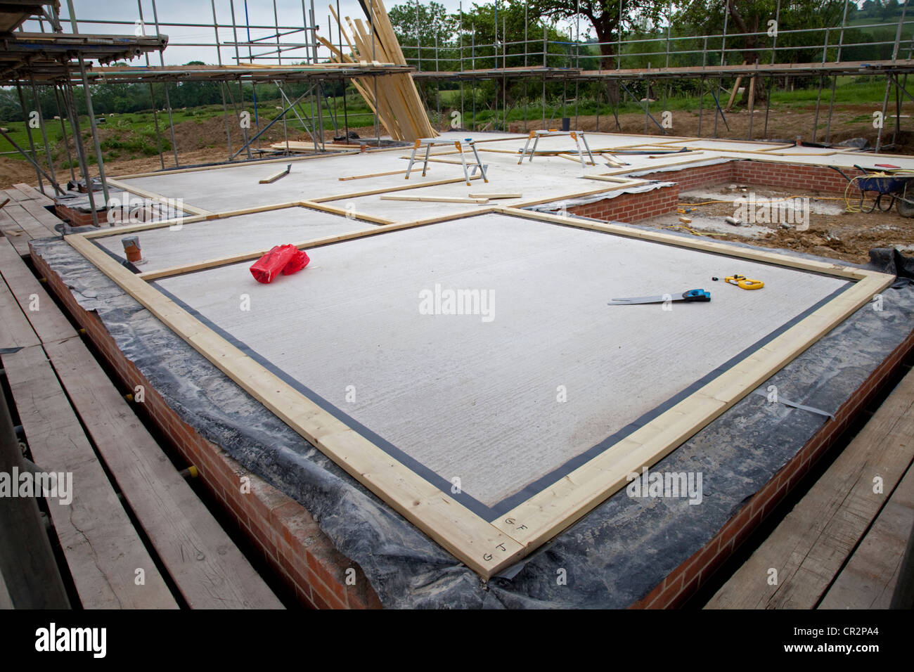 Fundamentrahmen für Holz-Rahmenbau auf Fundament angelegt Platte ...