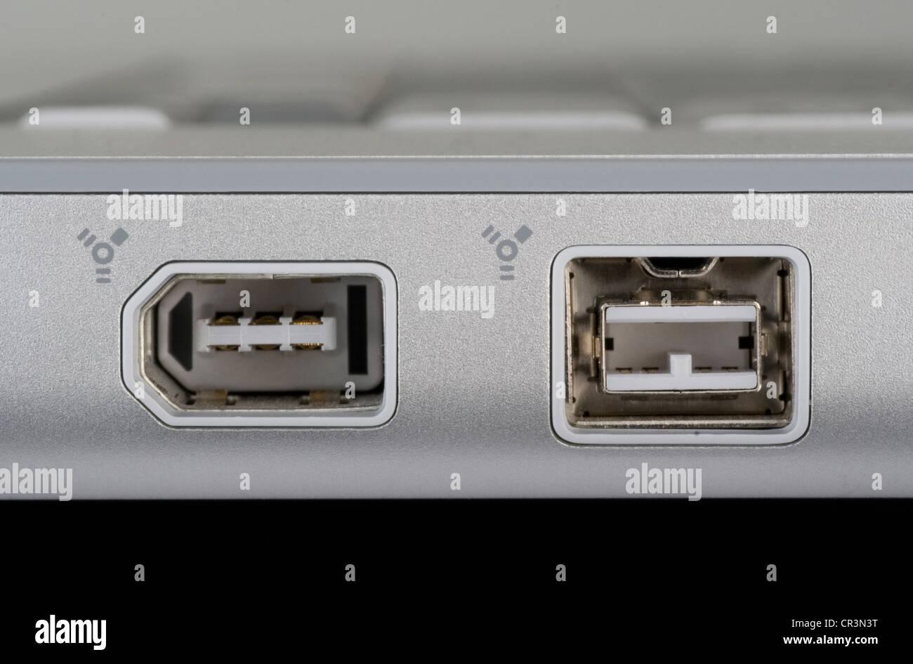 FireWire 400 und 800 Ports auf einem Notebook-computer Stockfoto ...