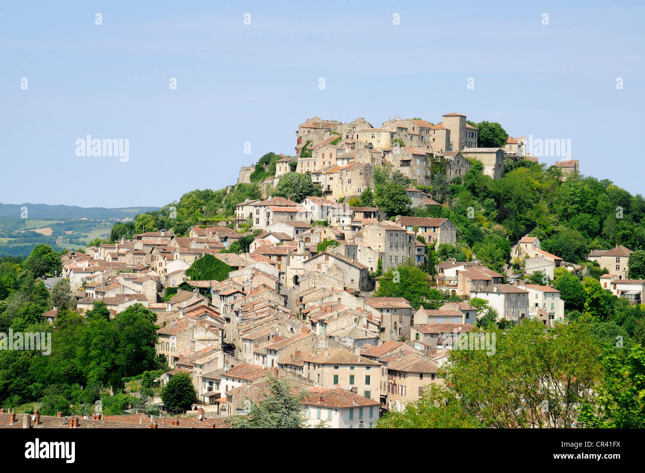 Stadtbild, Berggipfel, Cordes Sur Ciel Gemeinschaft, Albi, Departement Tarn, Midi-Pyrénées, Frankreich, Stockbild