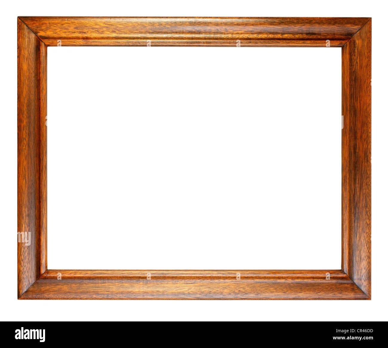 Einfache, alte, dunkle Eiche Bilderrahmen isoliert auf weiss. Stockbild