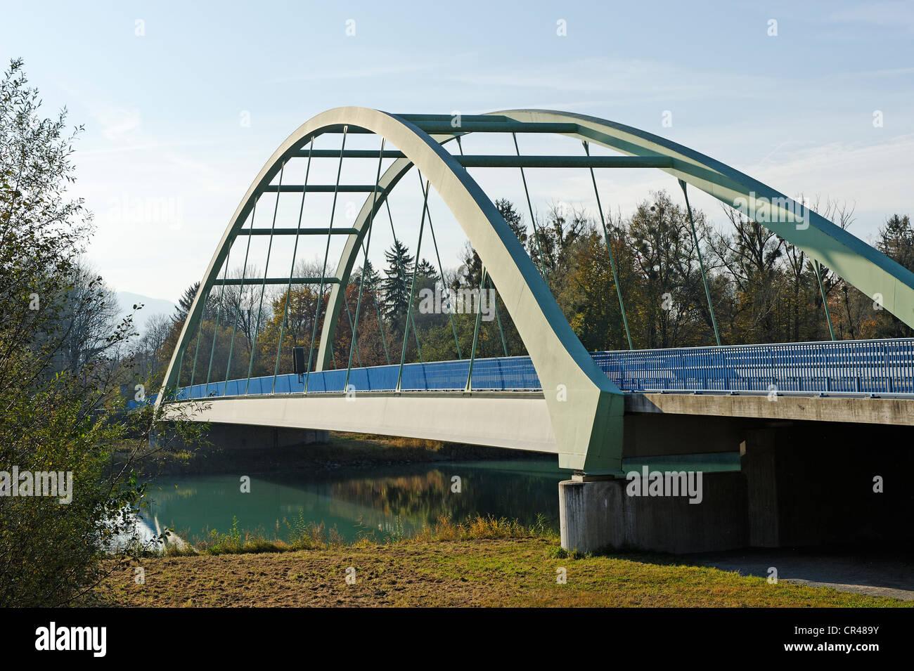 Innbruecke Brücke zwischen Raubling und Neubeuern, Oberbayern, Deutschland, Europa Stockbild