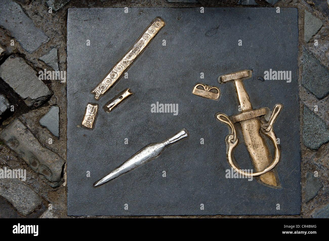 Markierungen der Viking Ausgrabung Entdeckungen in der Nähe von Christ Cathedral, Dublin, Republik Irland, Stockbild