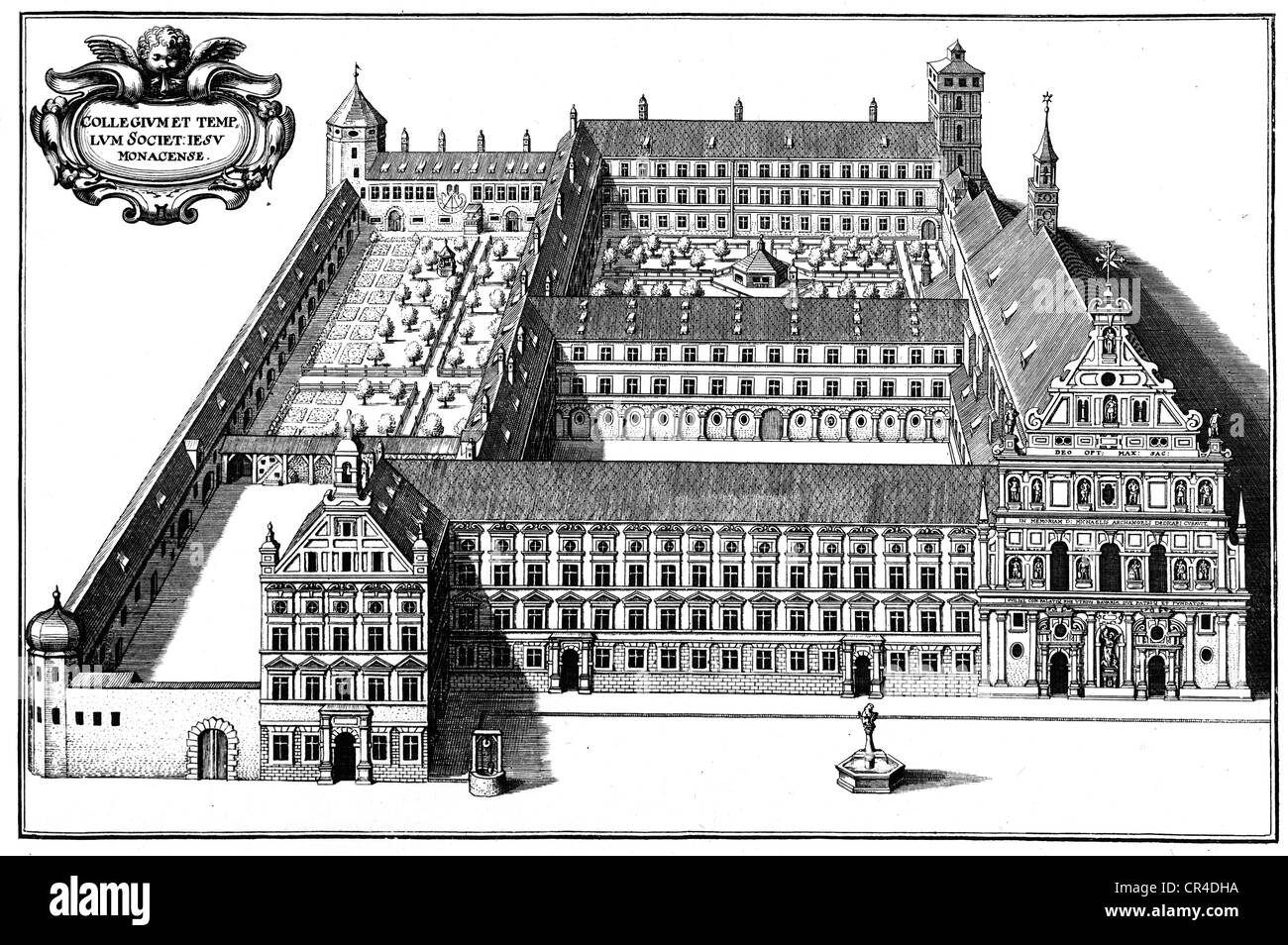 Kloster der Gesellschaft Jesu, ca. 1650, München, Kupfer Kupferstich von Matthaeus Merian, Bayern, Deutschland, Stockbild