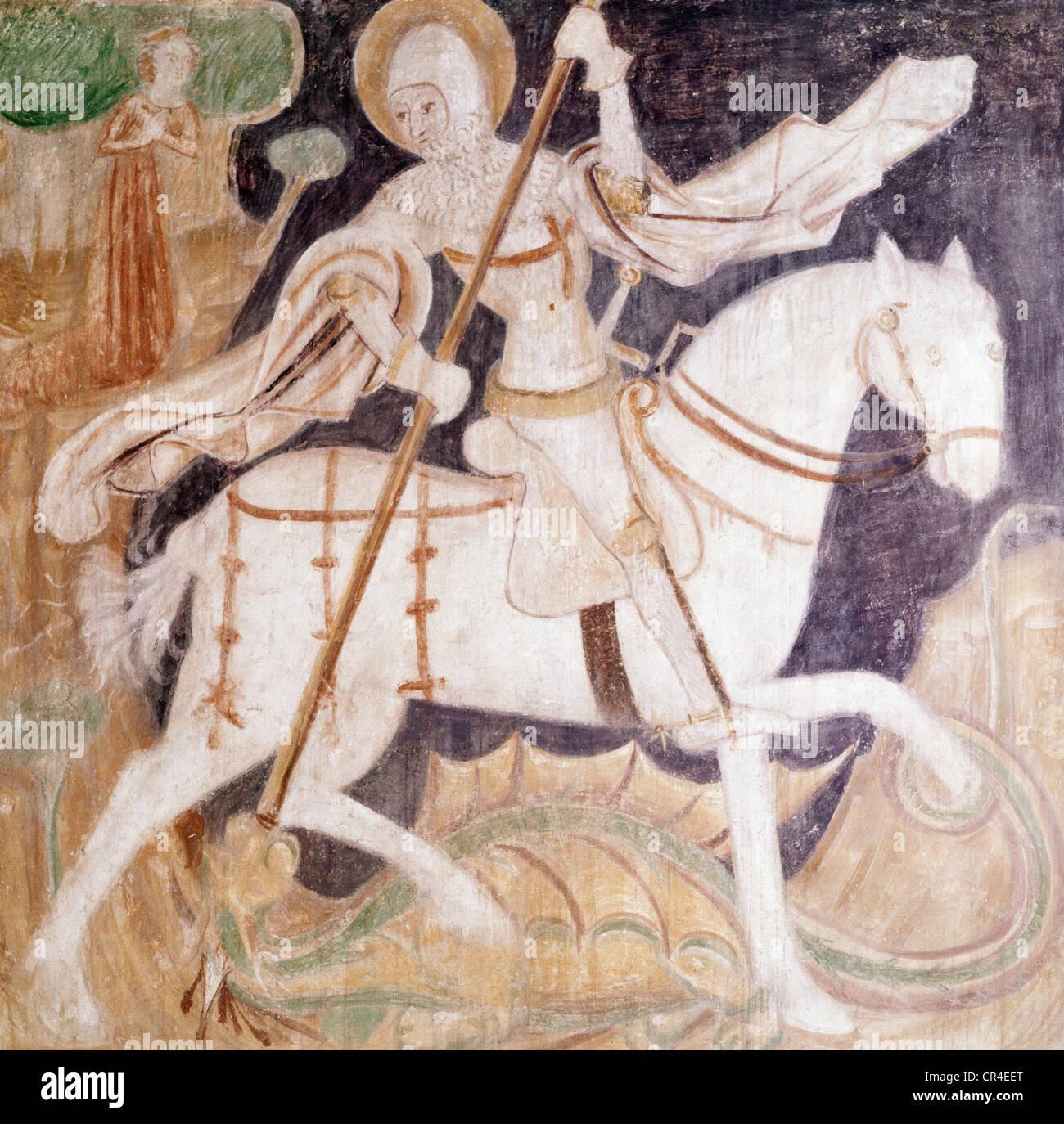 George, Saint, + ca. 303, Märtyrer, Heilige Helfer, Deckengemälde, anonym, der Kampf mit dem Drachen, Stockbild