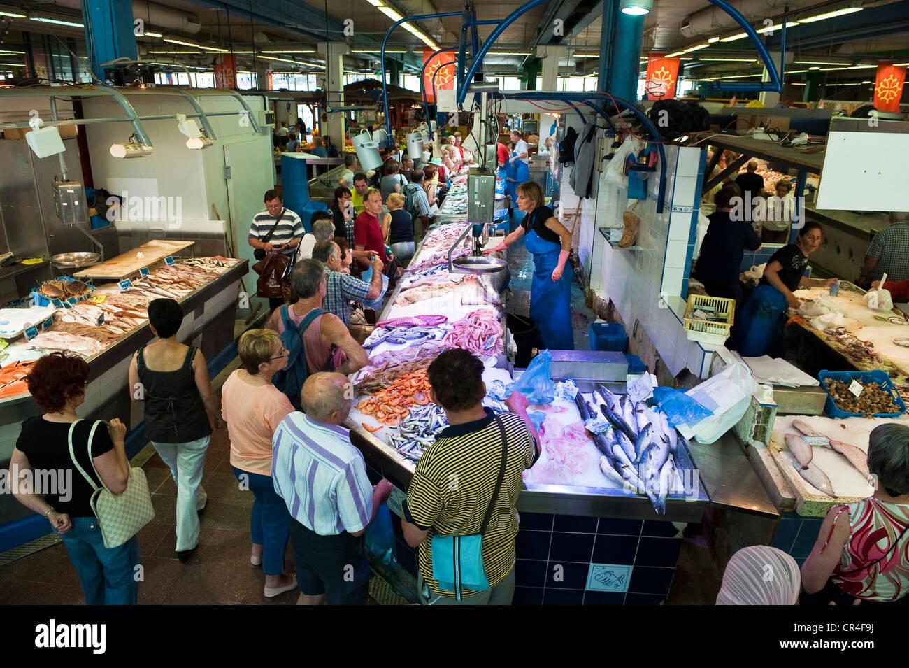 Frankreich, Herault, Sete, Markthalle, Fischmarkt Stockbild