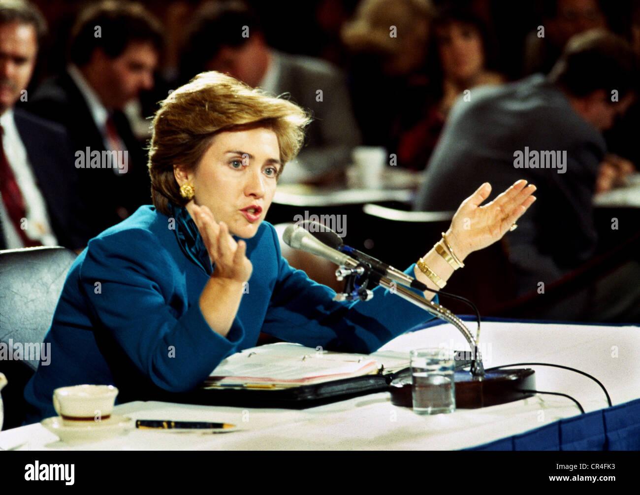 Clinton, Hillary, * 26.10.1947, US-amerikanischer Politiker (Demokraten), First Lady 1993-2001, Porträt, während Stockbild
