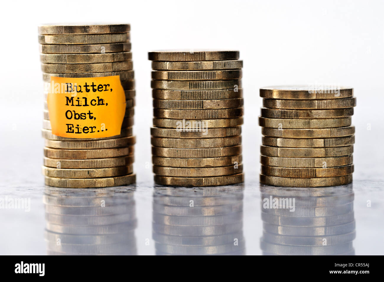"""Stapel von Münzen mit Preisschild und Inschrift """"Butter, Milch, Obst, Eier"""" Deutsch für """"Butter, Stockbild"""