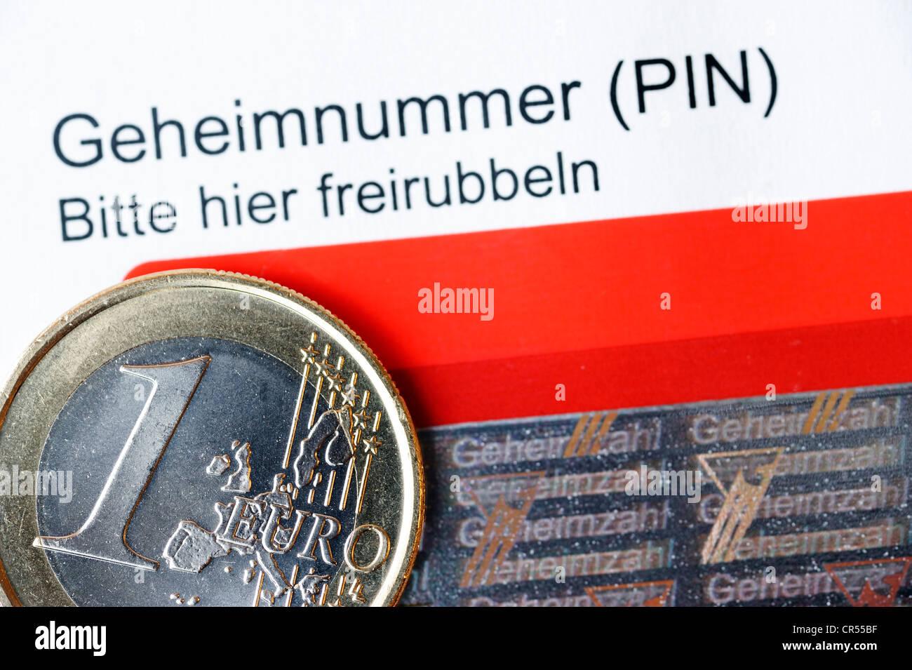 PIN, persönliche Identifikationsnummer und Zahlenfeld für den neuen deutschen Personalausweis Stockbild
