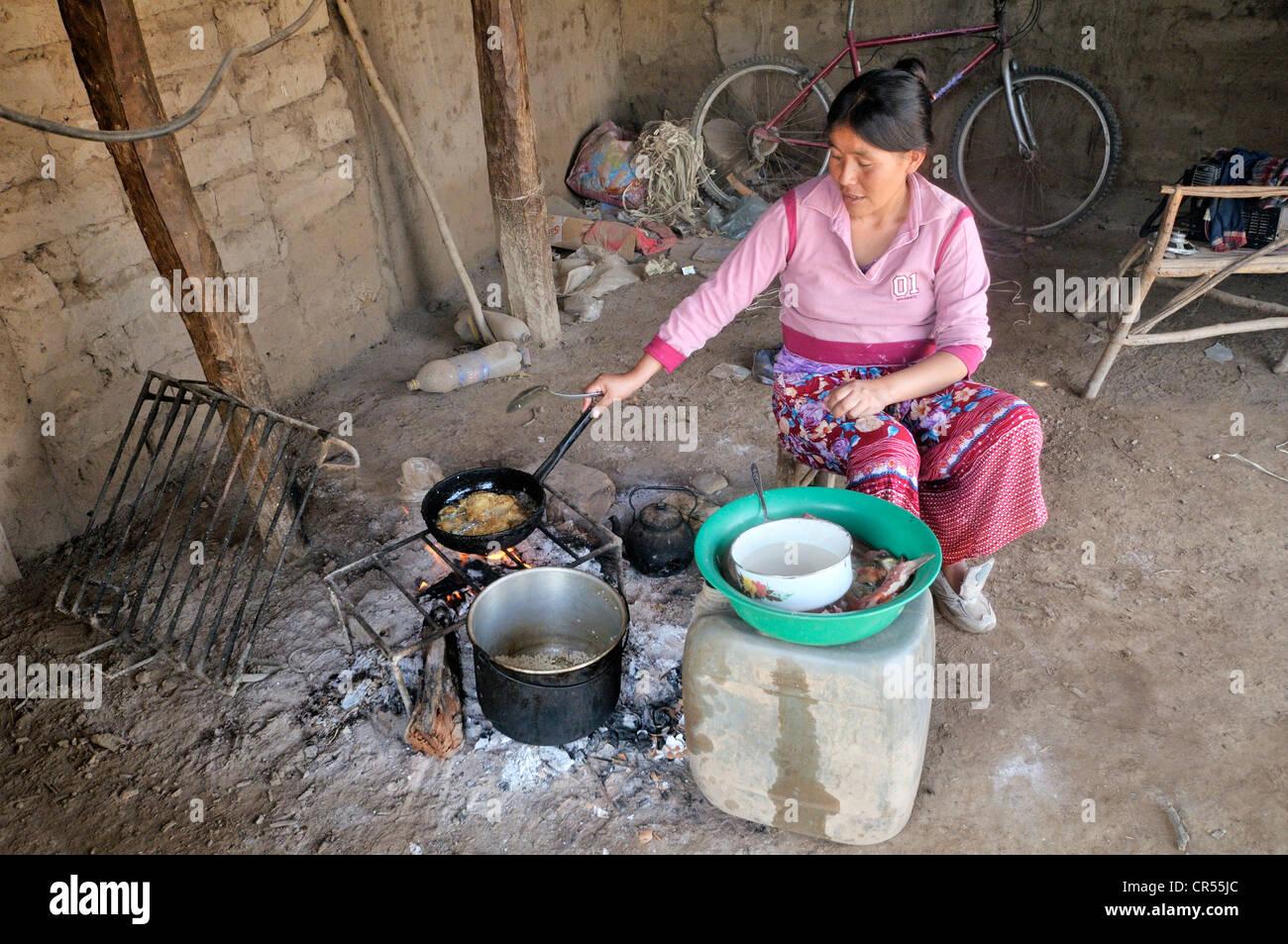 Indigene Frau aus dem Wichi-Indianer-Stamm, 31 Jahre, Kochen in ...