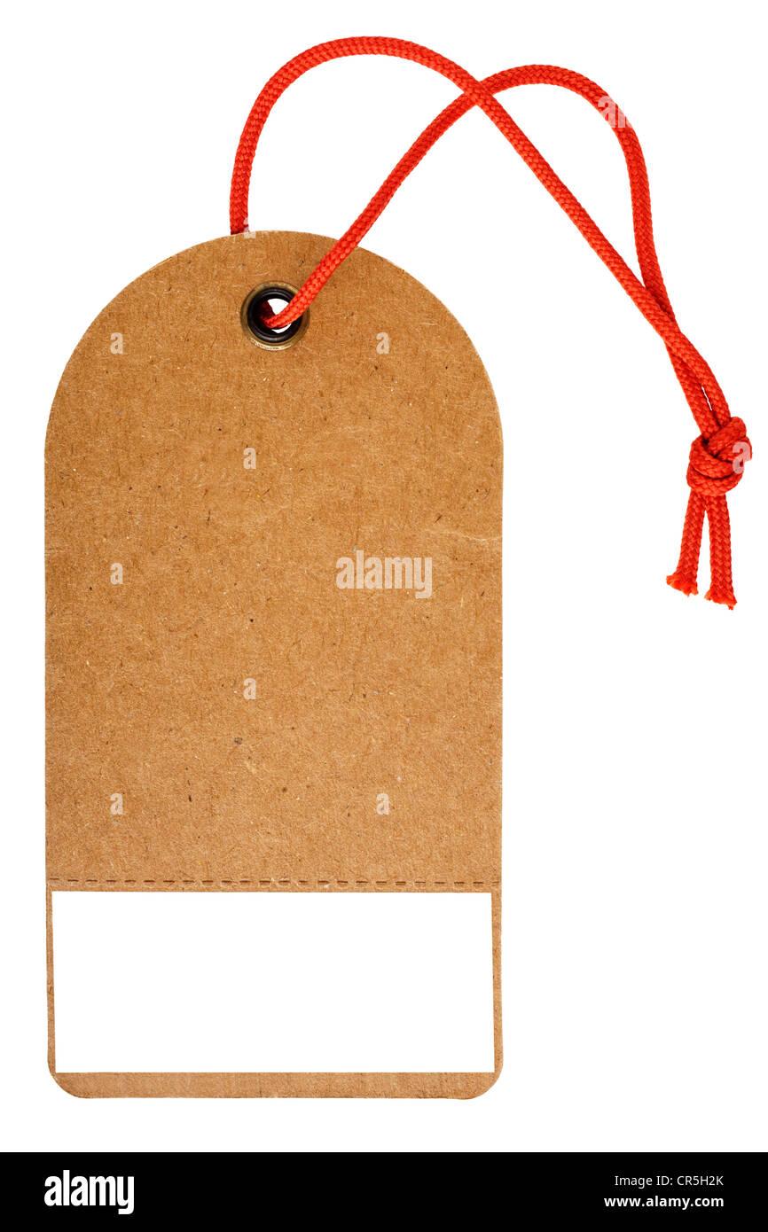 Vertrieb-Tag oder Swing ticket in grobe braune Karte mit roter String und perforierte Tear-off Vertrieb Label. Stockbild
