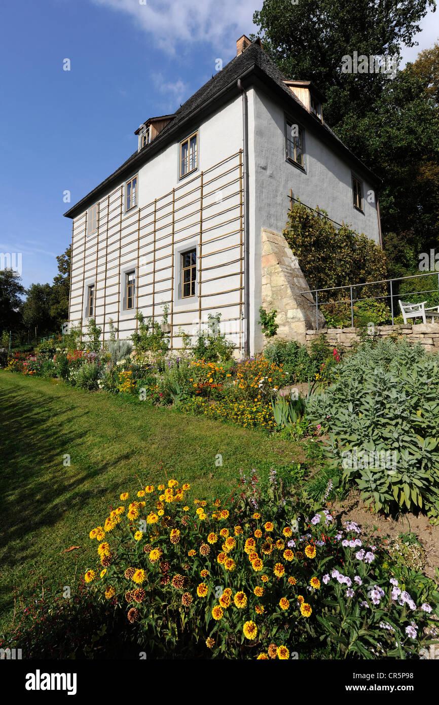 Goethes Gartenhaus im Park an der Ilm in Weimar, UNESCO-Weltkulturerbe, Thüringen, Deutschland, Europa Stockfoto