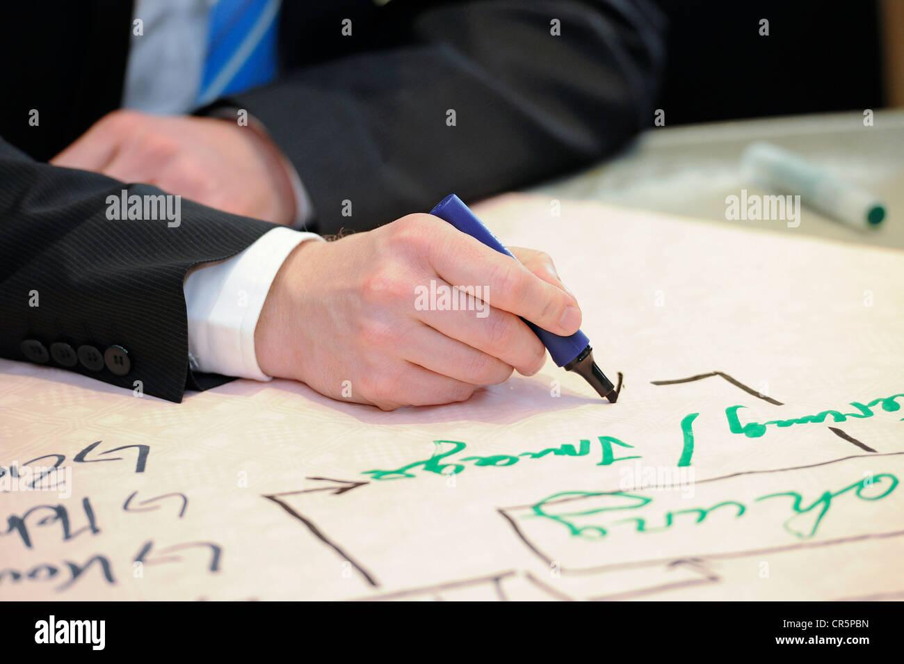 Hände eines Geschäftsmannes schreiben mit einem Stift in seiner rechten Hand, Thüringen, Deutschland, Stockbild